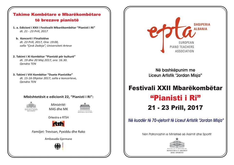 EPTA-Festivali XXII Mbarekombetar Pianisti i Ri-calendar.Al